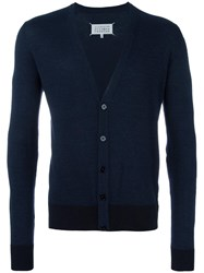 Maison Martin Margiela Elbow Patch V Neck Cardigan Blue