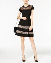 Ny Collection Petite Lace Fit And Flare Dress Noir Brokenglass