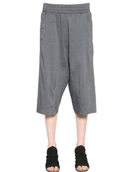 Transit Par Such Fluid Linen Tencel Wide Leg Capri Pants Grey