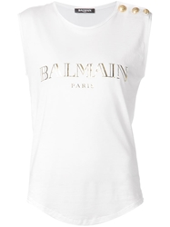 Balmain Logo Print Sleeveless Top White