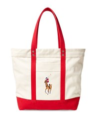 Polo Ralph Lauren Big Pony Canvas Tote Red And Natural