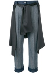 Hellessy Cropped Wrap Around Shirt Jeans Blue