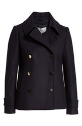 Reiss Becall Double Breasted Wool Blend Peacoat Navy