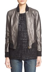 Tomas Maier Women's Antiqued Lambskin Leather Bomber Jacket
