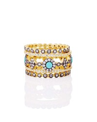 Freida Rothman Color Theory 5 Piece Stacking Ring Set Turquoise Gold