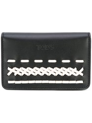 Tod's Contrast Embroidered Wallet Black