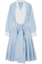 Loewe Tie Front Paneled Cotton Poplin Midi Dress Blue