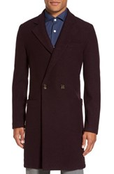 Eleventy Men's Boiled Wool Double Breasted Topcoat Burgundy