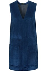 Belstaff Brigitte Fringed Suede Mini Dress Blue