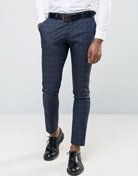 Selected Wedding Check Suit Trousers Navy