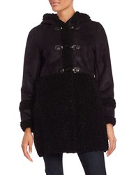 Ivanka Trump Sherpa Trimmed Toggle Coat Black