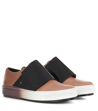 Marni Leather Slip On Sneakers Beige