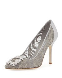 Manolo Blahnik Hangisi Satin And Lace 105Mm Pump Pewter