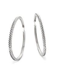 Effy Textured 18K White Gold Plated Sterling Silver Hoop Earrings