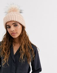 Topshop Beanie With Faux Fur Pom Pom In Pink