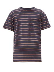 Saturdays Surf Nyc Randall Striped Cotton Jersey T Shirt Charcoal