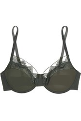 Hanro Liane Lace Trimmed Stretch Tulle Underwired Bra Charcoal Gbp