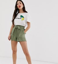 New Look Petite Twill Short In Green