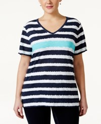 Styleandco. Style And Co. Sport Short Sleeve Striped Tee Only At Macy's