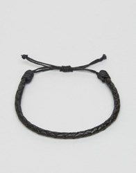 Jack And Jones Jacross Leather Bracelet In Black Black