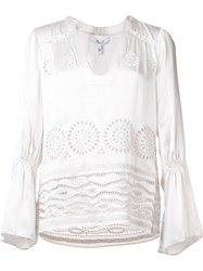 Derek Lam 10 Crosby V Neck Embroidered Blouse White