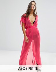 Asos Petite Chiffon Maxi Beach Kaftan With Self Belt Pink