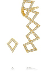 Noir Belmont Gold Tone Crystal Ear Cuff And Stud Earring