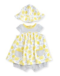 Offspring Cap Sleeve Cotton Lemon Print Play Dress W Hat Yellow