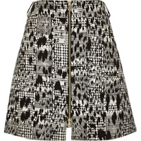 River Island Womens Black Animal Print Zip Through Mini Skirt