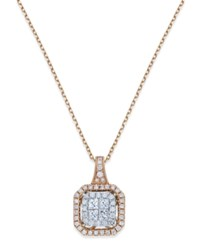 Macy's Diamond Square Pendant Necklace 5 8 Ct. T.W. In 14K Rose And White Gold