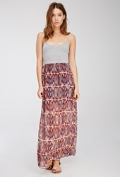 Forever 21 Tribal Print Combo Maxi Dress Heather Grey Rust