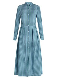 Stella Jean Checked Cotton Shirt Dress Green White