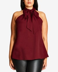 City Chic Trendy Plus Size Bow Halter Top Ruby