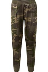 Atm Anthony Thomas Melillo Camouflage Print Silk Satin Track Pants Army Green