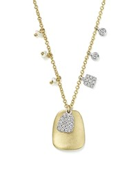 Meira T 14K White And Yellow Gold Disc Pendant Necklace With Diamond And Cultured Freshwater Pearl Charms 18 White Gold