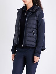 Moncler Quilted Shell And Cotton Jersey Jacket Navy