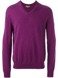 N.Peal 'The Burlington' V Neck Pullover Pink And Purple