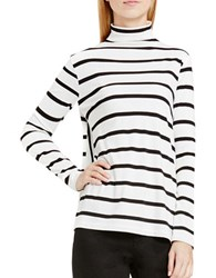 Vince Camuto Anchor Stripe Mock Neck Swing Top White