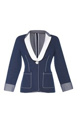 Agnona Drill Bicolored Tuxedo Jacket Blue