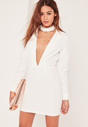Missguided White Plunge Long Sleeve Choker Neck Blazer Dress
