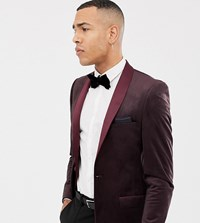 Jacamo Tall Printed Velvet Blazer In Red