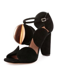 Dries Van Noten Circle Cut Suede Block Heel Sandal Black