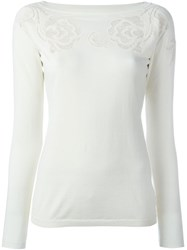Ermanno Scervino Front Lace Detail Top Nude And Neutrals