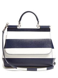 Dolce And Gabbana Sicily Medium Striped Leather Tote Blue Stripe