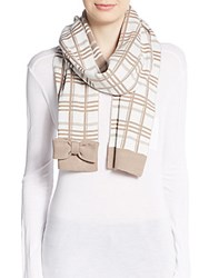 Kate Spade Plaid Scarf And Hat Set Cream White