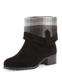 Charles By Charles David June Flannel Cuff Suede Bootie Black