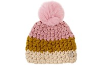 Mischa Lampert Women's Deep Beanie Pink Yellow Ivory