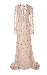 Bibhu Mohapatra Feather And Ruby Detailed Gown Pink
