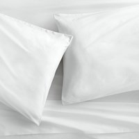 Cb2 Organic White Percale Queen Sheet Set
