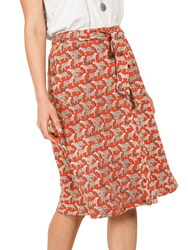 Fat Face Mina Jungle Cat Skirt Orange
